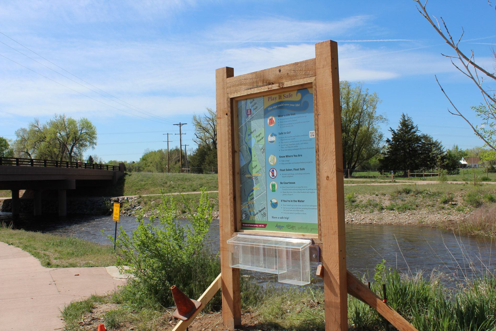 Play It Safe on the Poudre sign