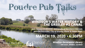 Poudre Pub Talks: Windsor's Water History & the Greeley #2 Canal @ Windsor-Severance Library | Windsor | Colorado | United States